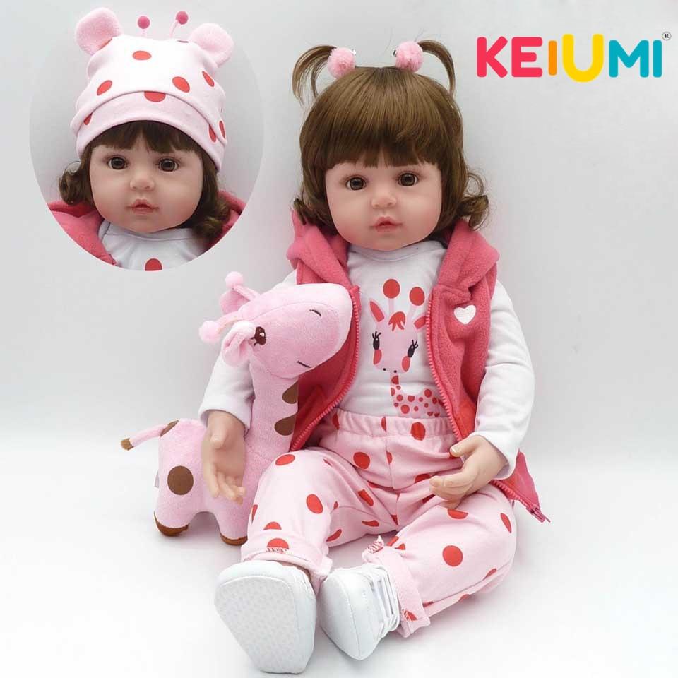 KEIUMI Baby Reborn Echt Neugeborene Weiche Silikon Reborn Baby Puppen Weihnachten Geschenke Mode Boneca Puppe Für Kinder Tuch PP Körper spielzeug