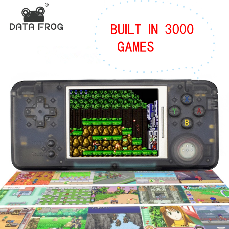 лучшая цена Data Frog Retro Handheld Game Console Built-in 3000 Games 3.0 Inch Console Support AV Output For NEOGEO/GBC/FC/CP1/CP2/GB/GBA
