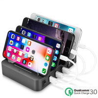 Quick Charge 3.0 4 Port USB Charger Station Fast Charging Power Adapter Desktop Strip For iPhone XS MAX SAMSUNG Note 9 S9 8 Plus