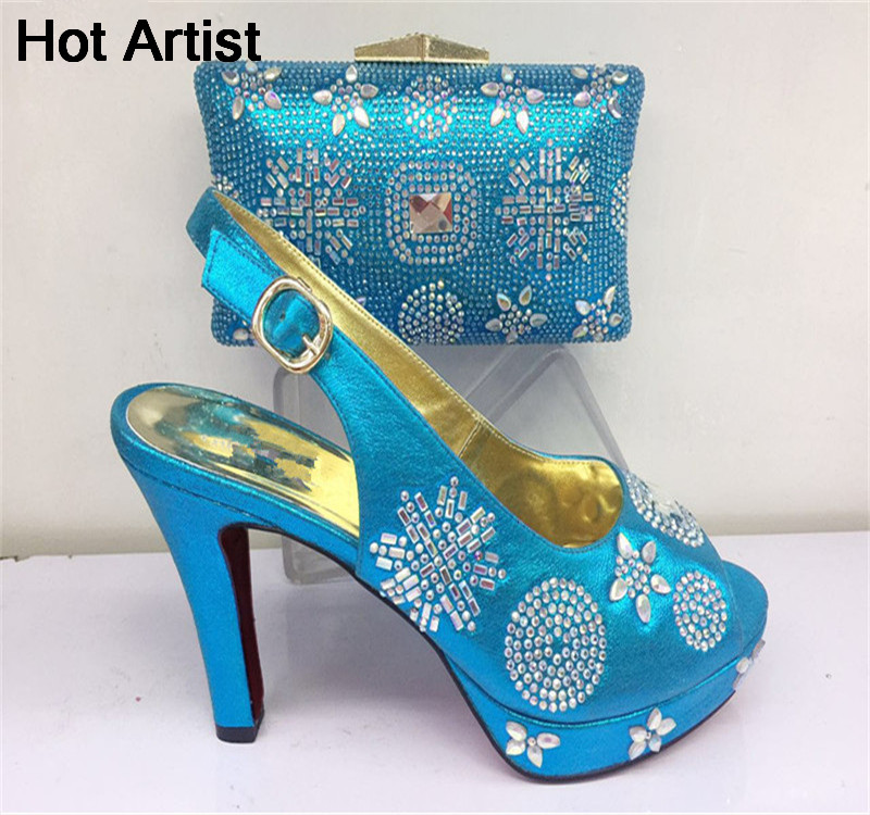 Hot Artist New Fashion Italian Shoes And Bag Set For Party Dress European Style Rhinestone High