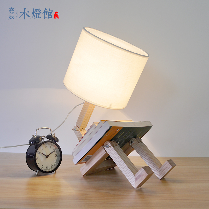 A1 Japanischen Kreative Persönlichkeit Schöne Holz Raw Holz Nachttischlampe Schlafzimmer Studie Bar Warmes Licht Dekorative Mz143 Phantasie Farben