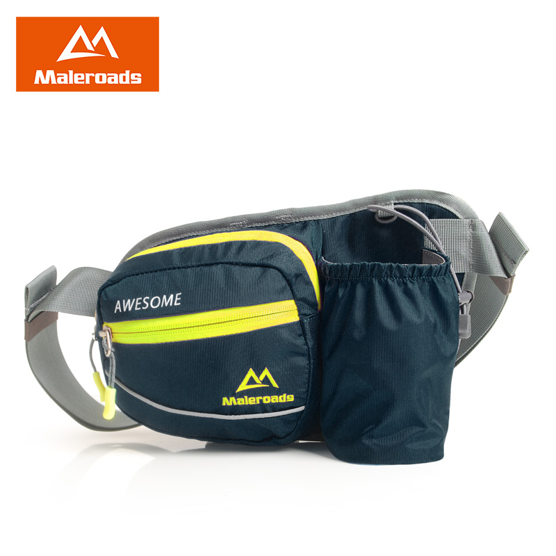 Maleroads Waterproof Water Bottle Running Waist Bags Sport Cycling Fanny Pack Malathion Camping Jogging Bum Bags For Men Women