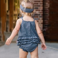 Square Collar 3 24M Summer Newborn Baby Girls Set Sleeveless Lovely Solid Print Bodysuit Jumpsuit With Headband Single Breasted