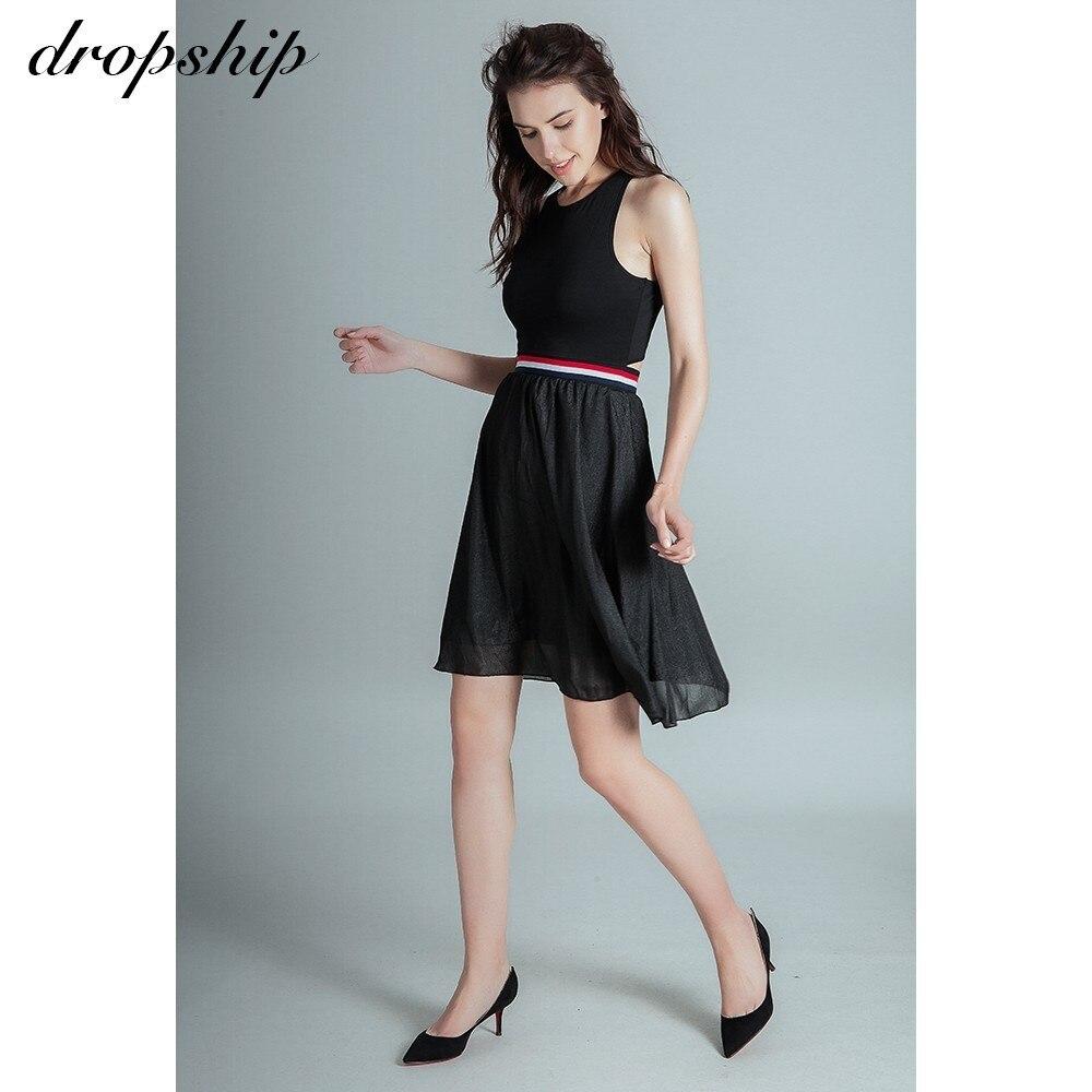 2018 New Fashion Sleeveless Bandage Summer Women Streetwear Black Patchwork Vestidos Hollow Out Elastic Sashes Midi Dress
