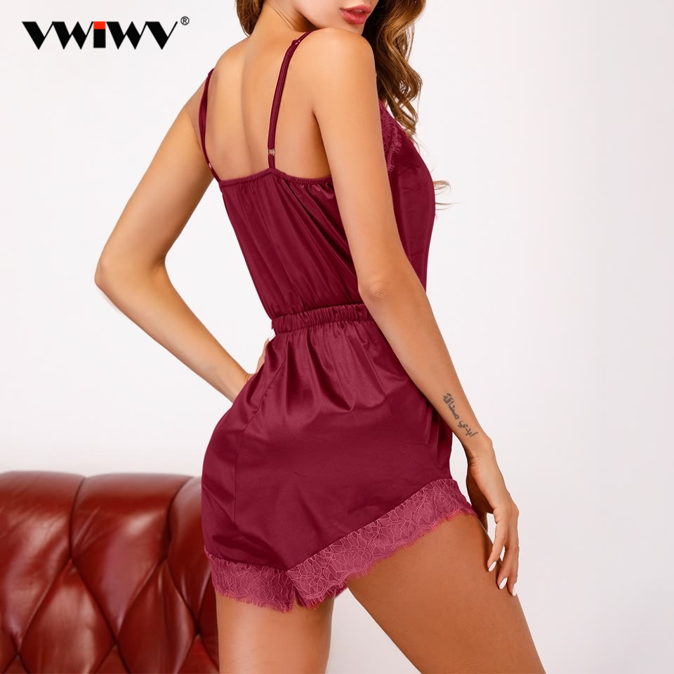 VWIWV Women Sleeveless pajamas V-neck Burgundy Satin Lace Sleep Romper Sexy Spaghetti Strap Homewear Sleepwear