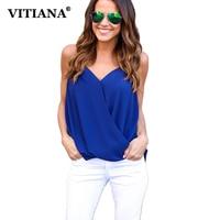 VITIANA 2017 Women Summer Chiffon Blouse Blue Black White Color Sexy Sleeveless Deep V Neck Top