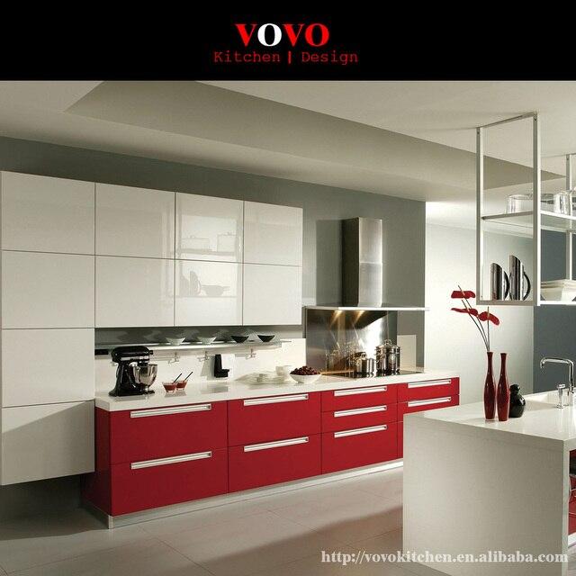 Moderno blanco brillante color rojo combinación gabinete de cocina ...