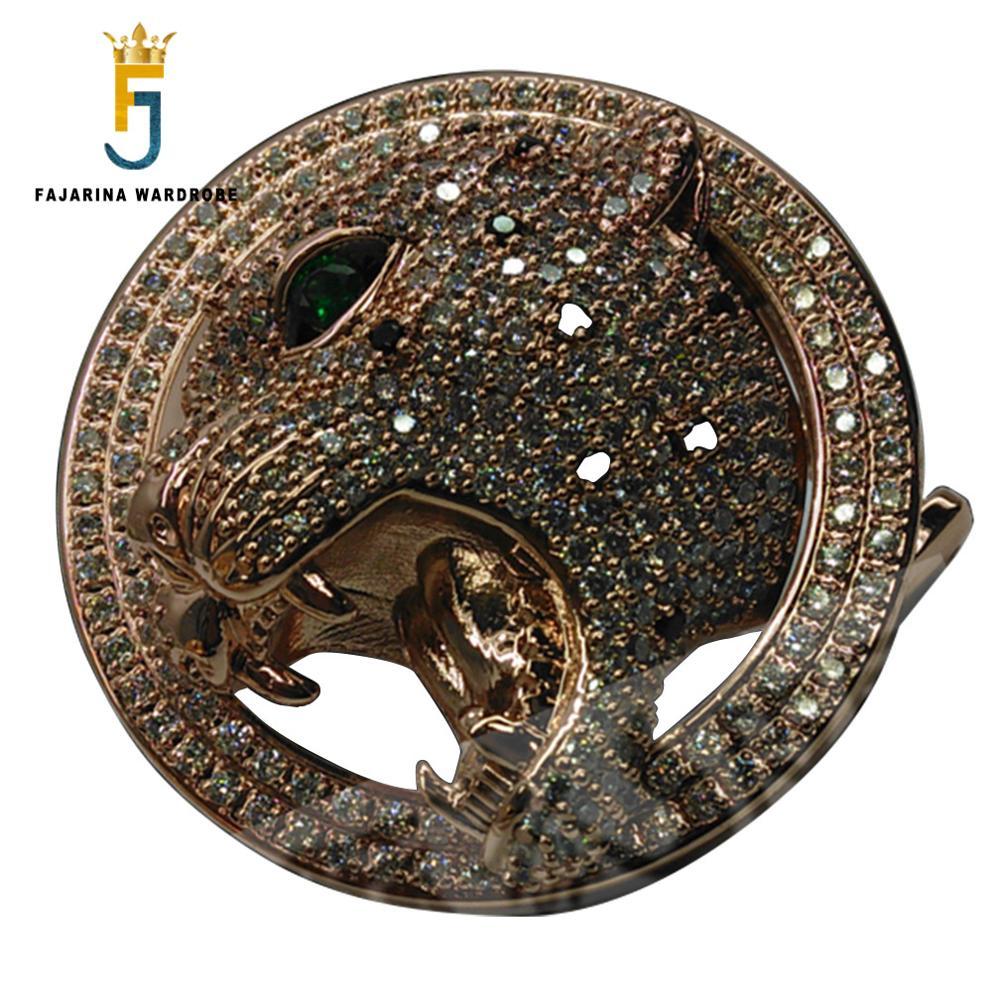 FAJARINA Unique Design Twelve Zodiac Tiger Head Pattern Buckles Luxurious Stainless Steel Crystal Diamond Belts Buckle  BCK022