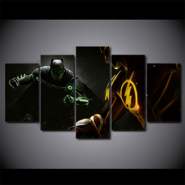 5 Pcsset Framed Hd Printed Batman Flash Man Movie Picture Wall Art