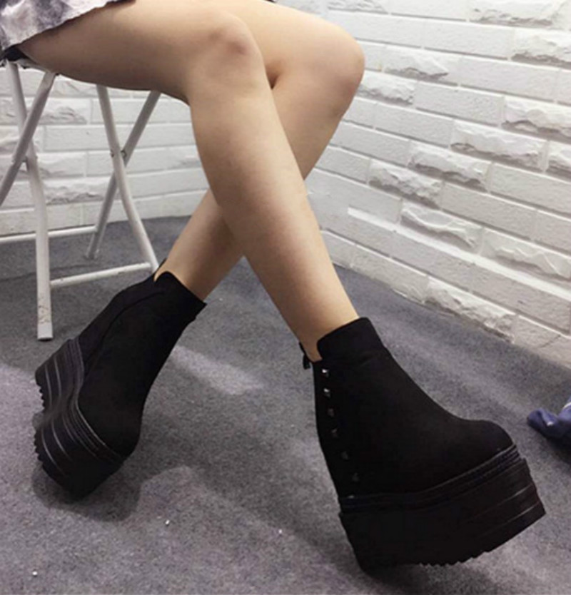 ФОТО Slope with 2017 autumn and winter new 13cm thick bottom loose cake shoes Within the high boots with high boots