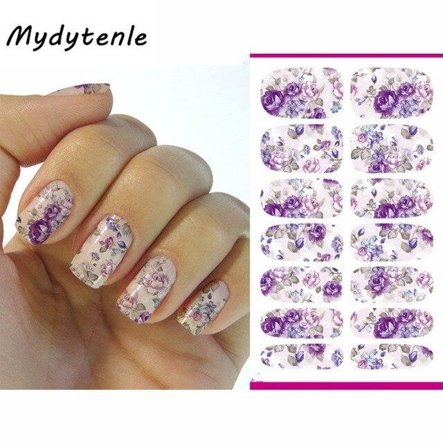 Mydytenle 2017 Nails Art Sticker Gray Purple Flowers Design