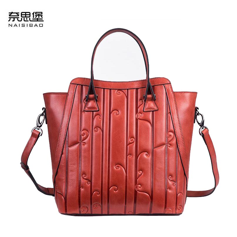 NAISIBAO 2018 New women genuine leather bag embossing fashionluxury handbags women bags designer tote cowhide bag 2018 new superior cowhide leather classic designer hand embossing top leather tote women handbags genuine leather bag medium bag
