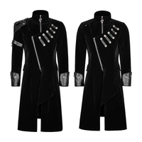 Панк RAVE панк рок черный Для мужчин зимние длинные шерстяные пальто Готический бархата с кожаная куртка пальто двубортное этап Тренч