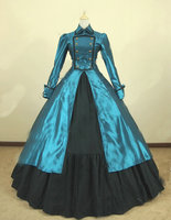 Historicalcustomer сделано Синий бальное платье в викторианском стиле Поезд атласная COS loliata платье V 824