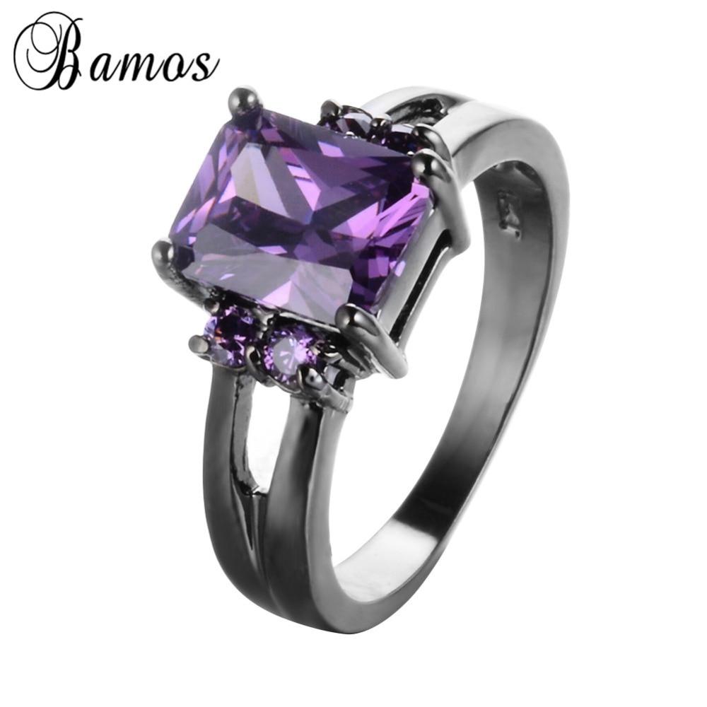 Бамос элегантный фиолетовый камень циркон Кольца для Для женщин леди Черное золото Заполненные Свадебная вечеринка Обручение Promise Ring Анель...