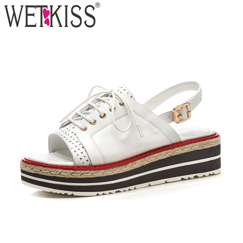 WETKISS Summer Women Sandals Wedges Genuine Leather Shoelaces Straw Weave Platform Footwear Fashion Casual High Heels Girl Shoes lenkisen genuine leather big size wedges summer shoes gladiator super high heels straw platform sweet style women sandals l45