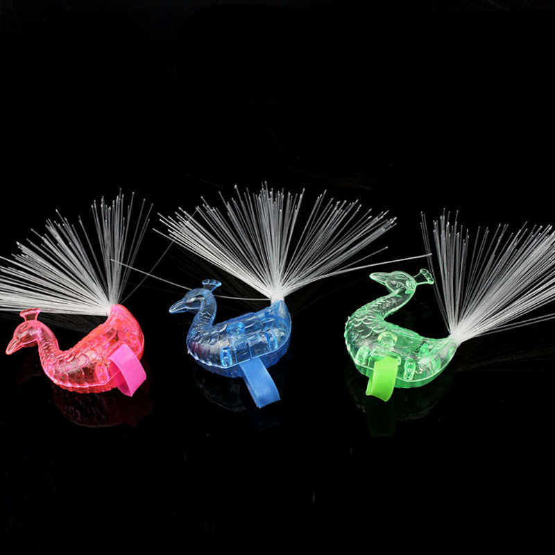 Image 3 - 5pcs Hot peacock shape glowing finger ring LED Finger Light Laser Beams Ring luminous toys wedding decoration party supplies-in Glow Party Supplies from Home & Garden