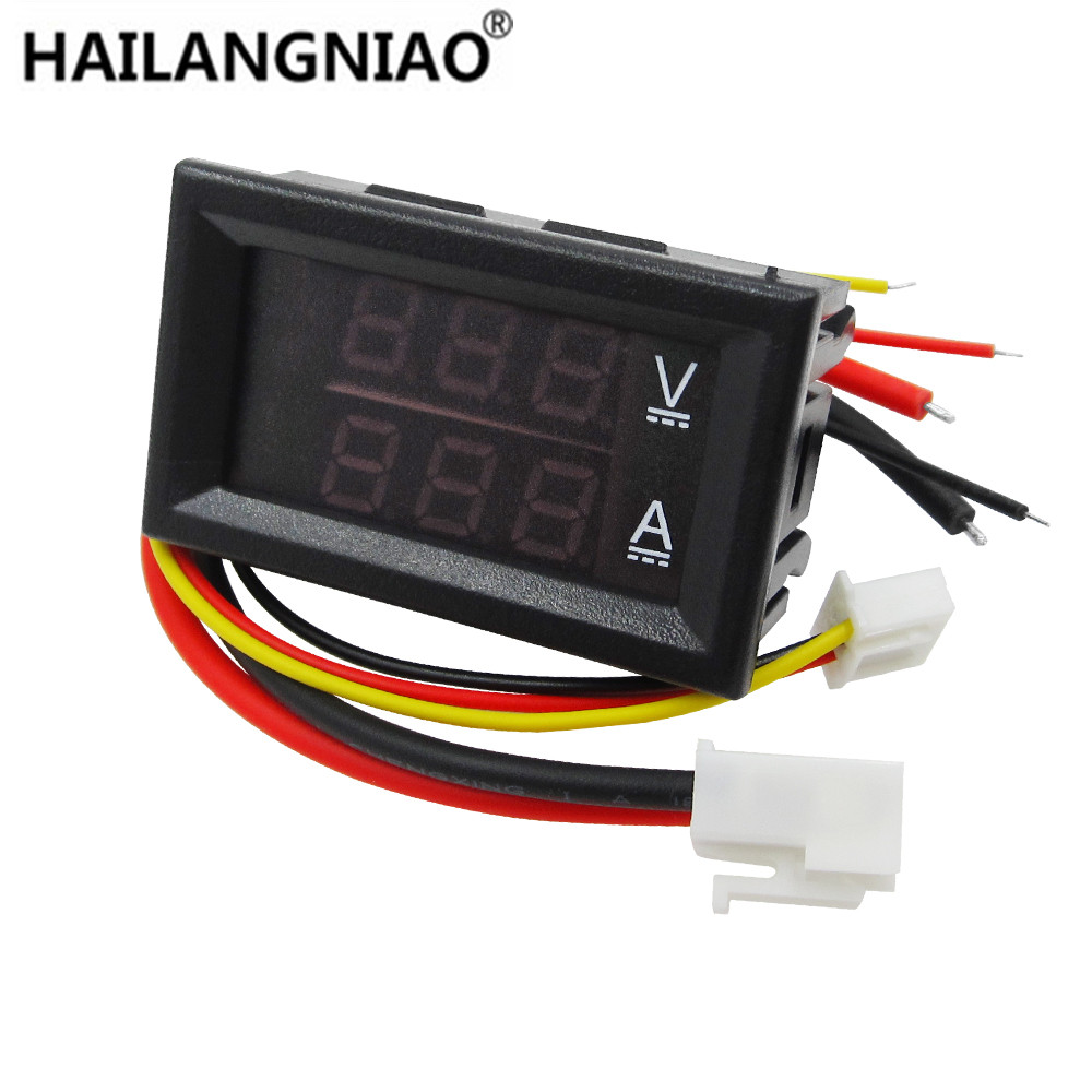 DC 0-100V 10A Digital Voltmeter Ammeter Dual Display Voltage Detector Current Meter Panel Amp Volt Gauge 0.28 Red Blue LED wholesale 5pcs d85 2042a lcd dual display digital ammeter voltmeter ac volt current meter black
