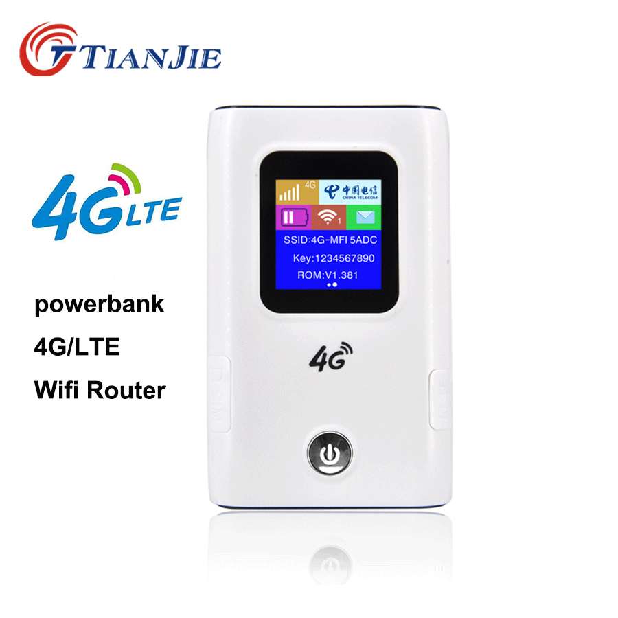 TIANJIE Unlocked 4G Wifi Router Hotspot 3G/4G LTE CAT4 150mbps Travel Router Power Bank Mobile Router Support simcard slot-in Modem-Router Combos from Computer & Office    1