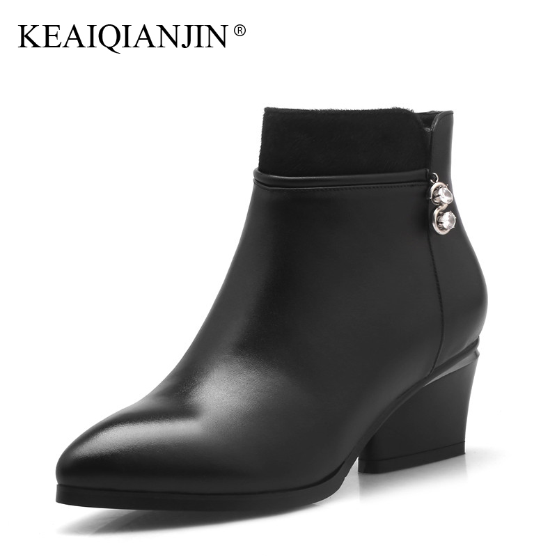 KEAIQIANJIN Woman Crystal High Heel Boots Botas Mujer Martens Boots Black Autumn Winter Genuine Leather Studded Ankle Boots 2017 keaiqianjin woman studded snow boots pink black winter genuine leather flat shoes flower platform fur crystal ankle boot 2017
