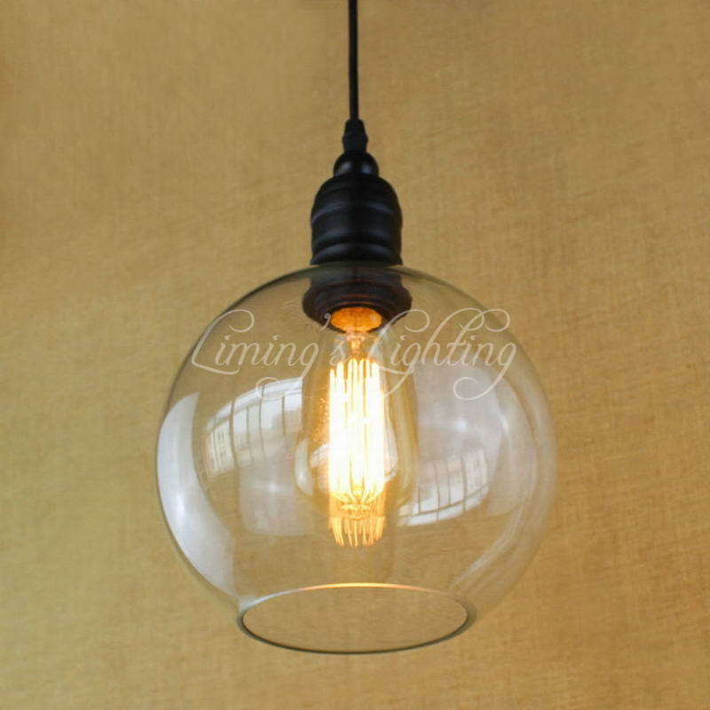 Vintage Iron Hanging Clear Ball Glass Shade Pendant Lamp E27 Lights Edison Lights Cabinet For Bedroom Living Room Luminaire edison inustrial loft vintage amber glass basin pendant lights lamp for cafe bar hall bedroom club dining room droplight decor