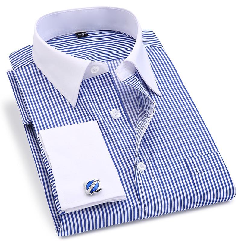 High Quality Striped Men French Cufflinks Casual Dress Shirts Long Sleeved White Collar Design Style Wedding Tuxedo Shirt 6XL 3