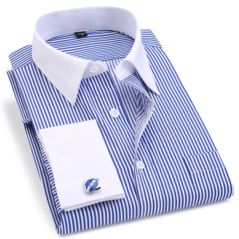 Image 3 - High Quality Striped Men French Cufflinks Casual Dress Shirts Long Sleeved White Collar Design Style Wedding Tuxedo Shirt 6XL-in Dress Shirts from Men's Clothing