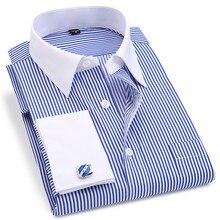 Striped Men French Cufflinks Casual Dress Shirts
