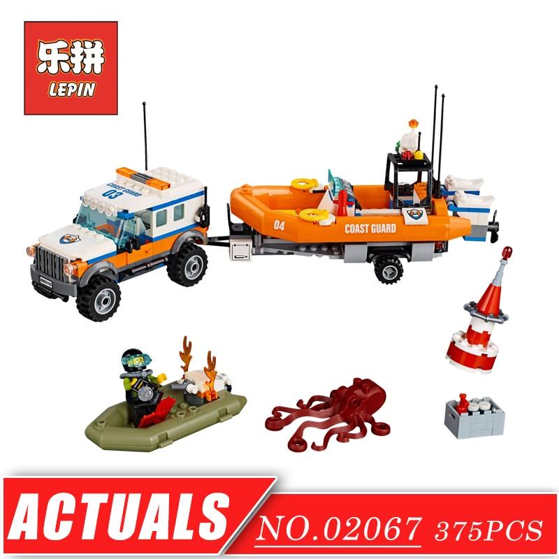 City Police Series Coast Guard Trailer Rescue Boats Response Unit LEPIN 02067 New Building Blocks Bricks DIY Children Toys Gift