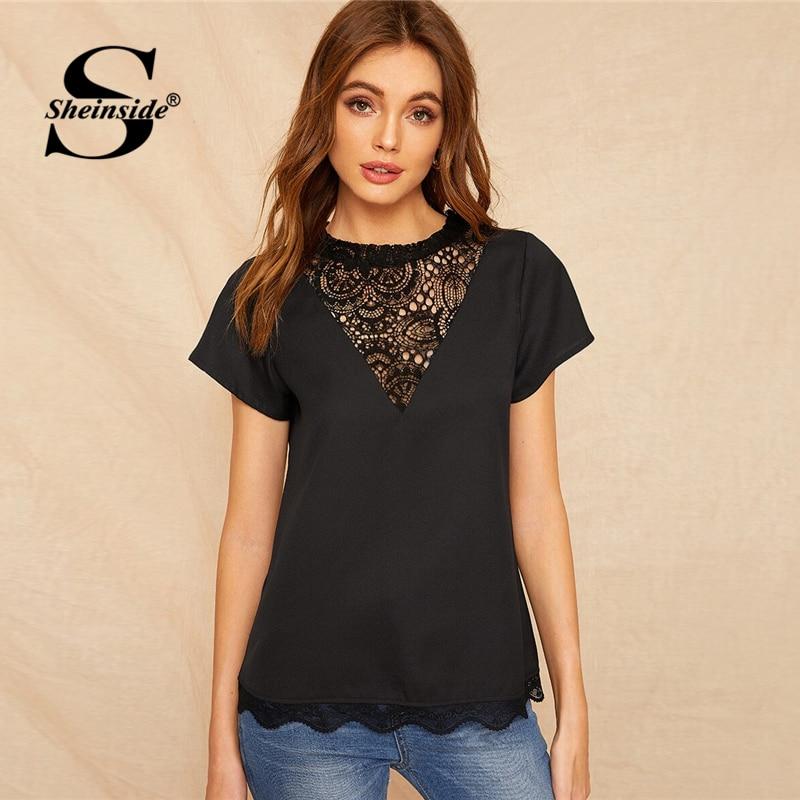 Sheinside Black Contrast Lace Blouse Women 2019 Summer Stand Collar Short Sleeve Patchwork Blouses Ladies Scallop Trim Hem Top