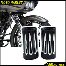 Motorcycle CNC Billet Aluminum Black Deep Edge Cut Fork Boot Slider Cover Cow Bells For Harley TouRring Arlen Ness 1986-2013(China)