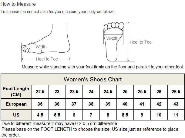 P-women shoes size chart