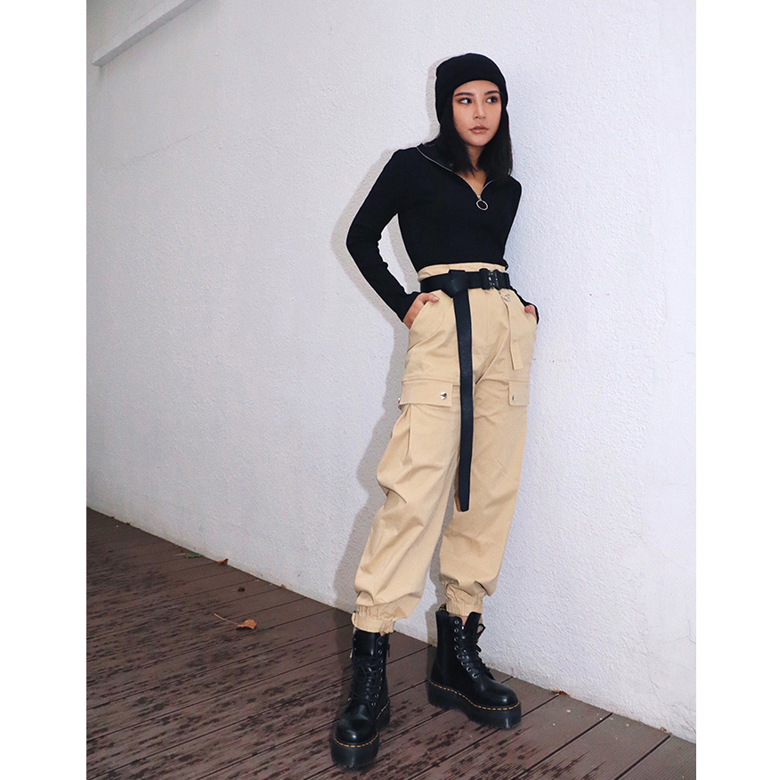 Streetwear Cargo Pants with Buckle Belt Women Casual Joggers Black Khaki Amy Green Ladies Capri High