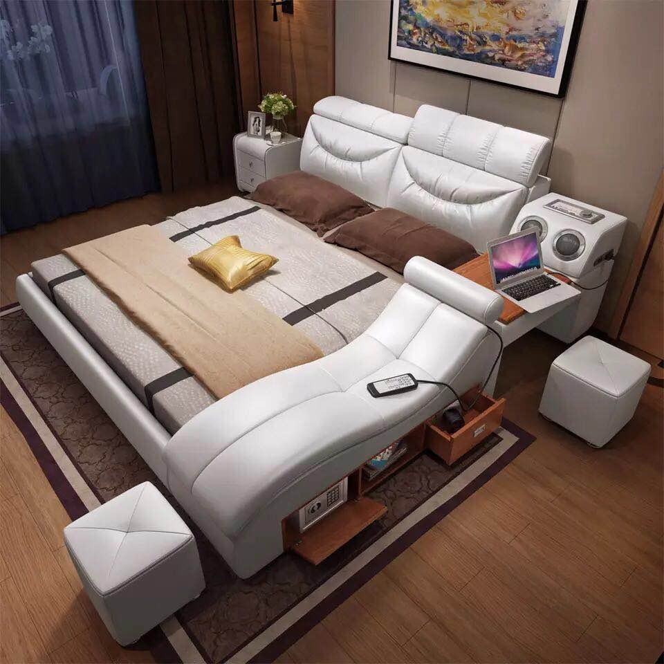 1.8 M Modern Beige Top Grain Leather Bed Bedroom Furniture  #CE-096