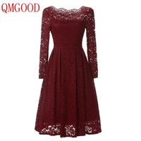 QMGOOD High Quality Autumn Winter Solid Lace Dresses Women Elegant Prom Party Social Dresses Retro Female