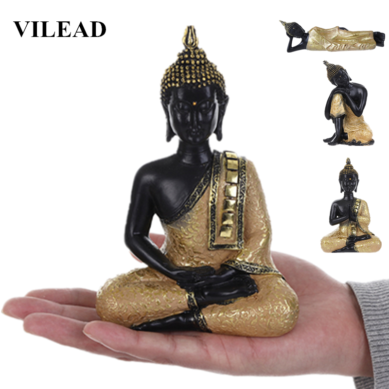 VILEAD 5 Styles Resin Thailand Buddha Statue Fengshui India Religious Buddhism Sculpture Hindu Black Buddha Figurines Home Decor