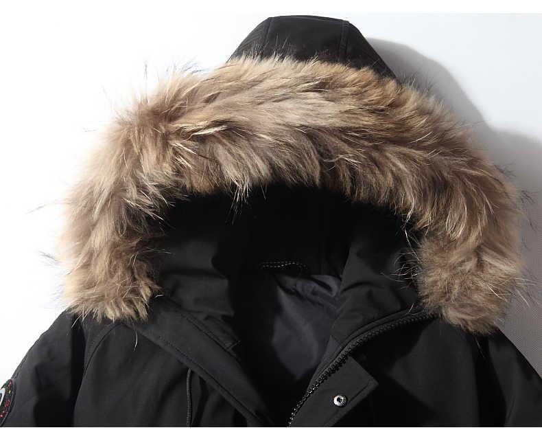 2018 зимняя новая мужская пуховая куртка, одежда высокого качества, Повседневная Большая Меховая короткая куртка с воротником на утином пуху, Мужская брендовая одежда