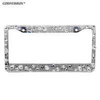 GZRIVERRUN Car Crystal License Plate Frame Steel USA Canada Auto Luxury Lisence Car Number Plate Holder Universal for WRX