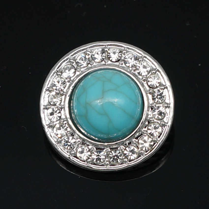 Di modo di bellezza di Strass turchesi Rotonda 18 MILLIMETRI snap bottoni misura il braccialetto a scatto a scatto commercio all'ingrosso dei monili KZ1146