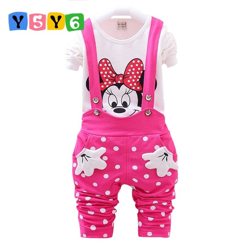 Retail 2018 Nya Baby Girls Klädsel Set Kids Bomull Cartoon Mickey Minnie Full-Sleeve T-shirt + Suspenders Pants Suit 3 färger