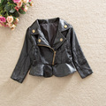 2017 Fashion Denim Baby Girls Pu Leather Jacket European American Style Kid Children's Clothes Short Style Coat Free Shipping