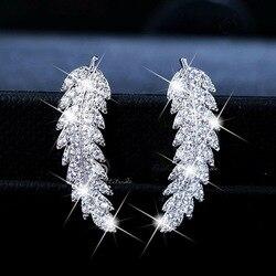 Серебряные золотые милые перья с шикарным цирконием камень для женские серьги Модные ювелирные изделия корейские серьги 2019 Новинка