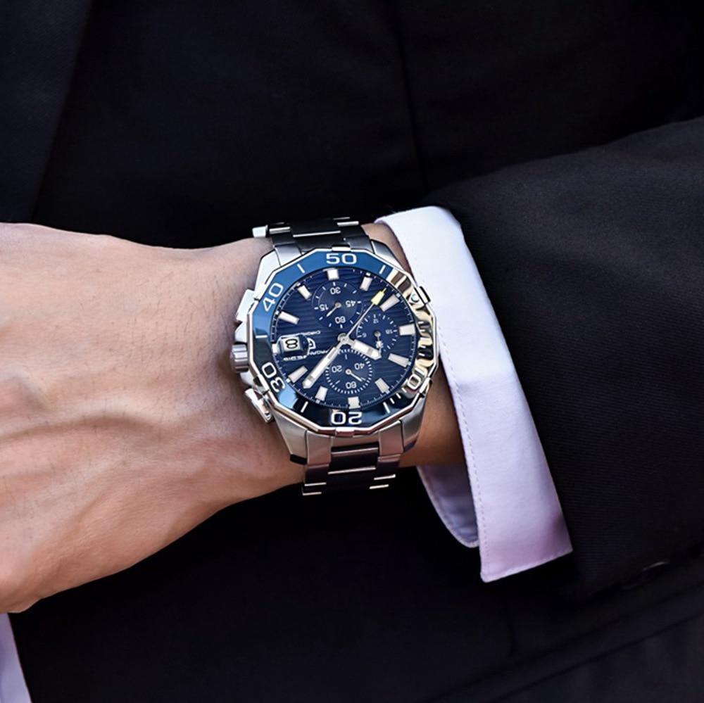 PAGANI DESIGN en acier inoxydable hommes montres marque de luxe chronographe Sport affaires étanche Quartz montre bracelet hommes horloge mâle - 3