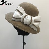 FGHGF Women Wool Felt Hat Elegant Winter Hat Bow Accent Church Bowler Hat 100% Wool Wide Brim Cloche Fedora Dress Floppy Hat Cap
