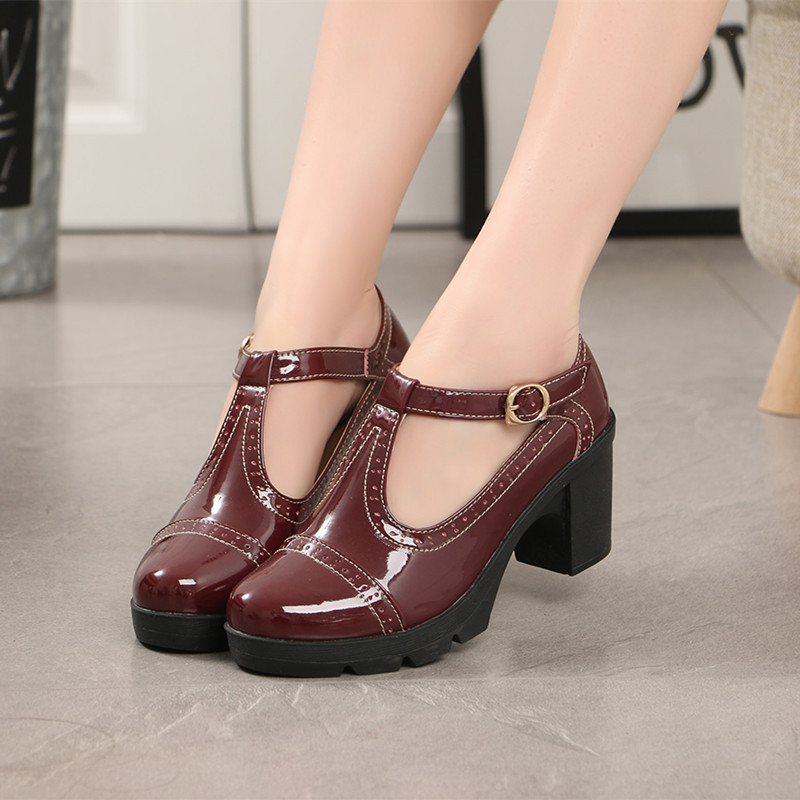 Women Pumps Platform High Heels Patent Leather High heeled Round Toe Buckle T strap Black Heels Sexy Mary Jane Shoes 2019 Spring in Women 39 s Pumps from Shoes