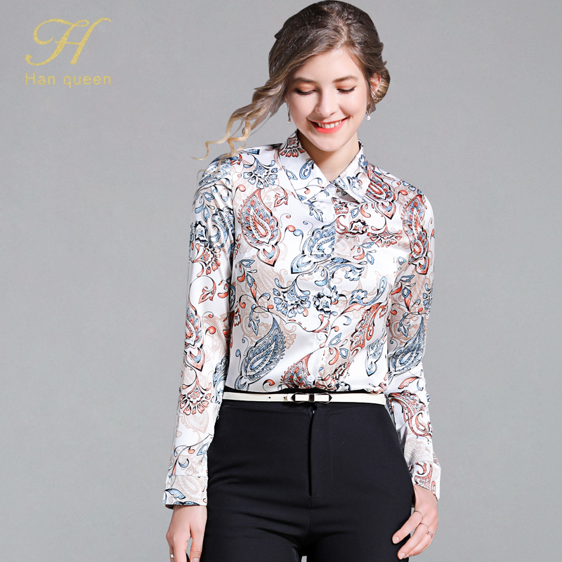 H Han Queen Printing Womens Tops And Blouses Casual Long Sleeve Shirt Single-breasted Feminine Blouse Tops Loose Plus Size Blusa