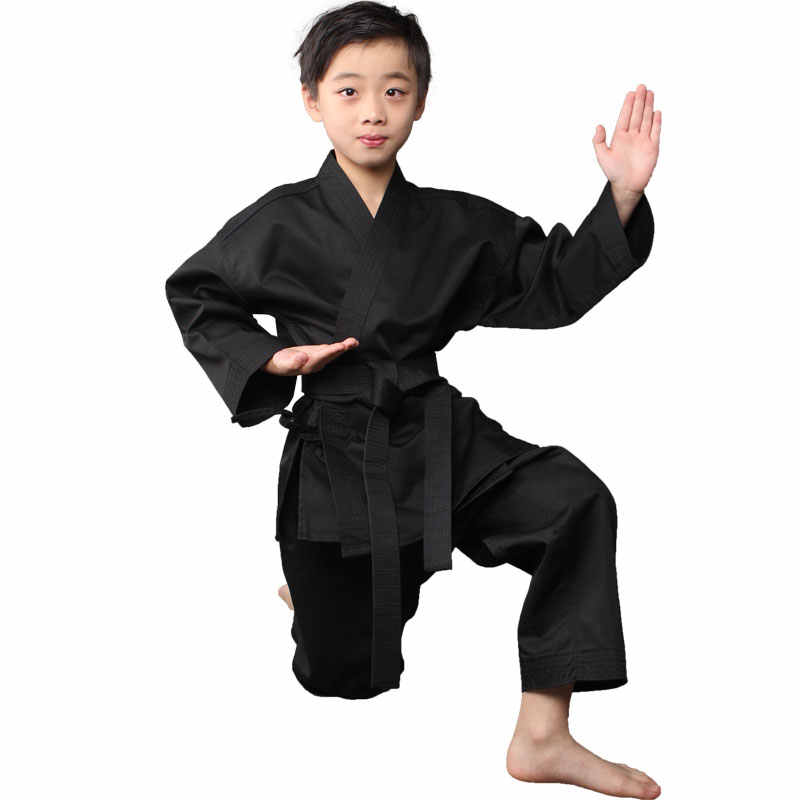 Adult&kids black/white COTTON KARATE clothing kung fu Kardined on training apparel clothing children karate uniform uniforms