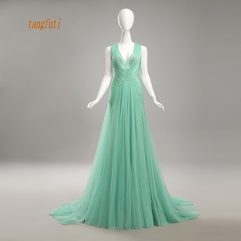 Illusion Back Long   Evening     Dresses   V Neck Sleeveless Beading Lace Sexy Tulle   Dress   A Line Formal Gowns