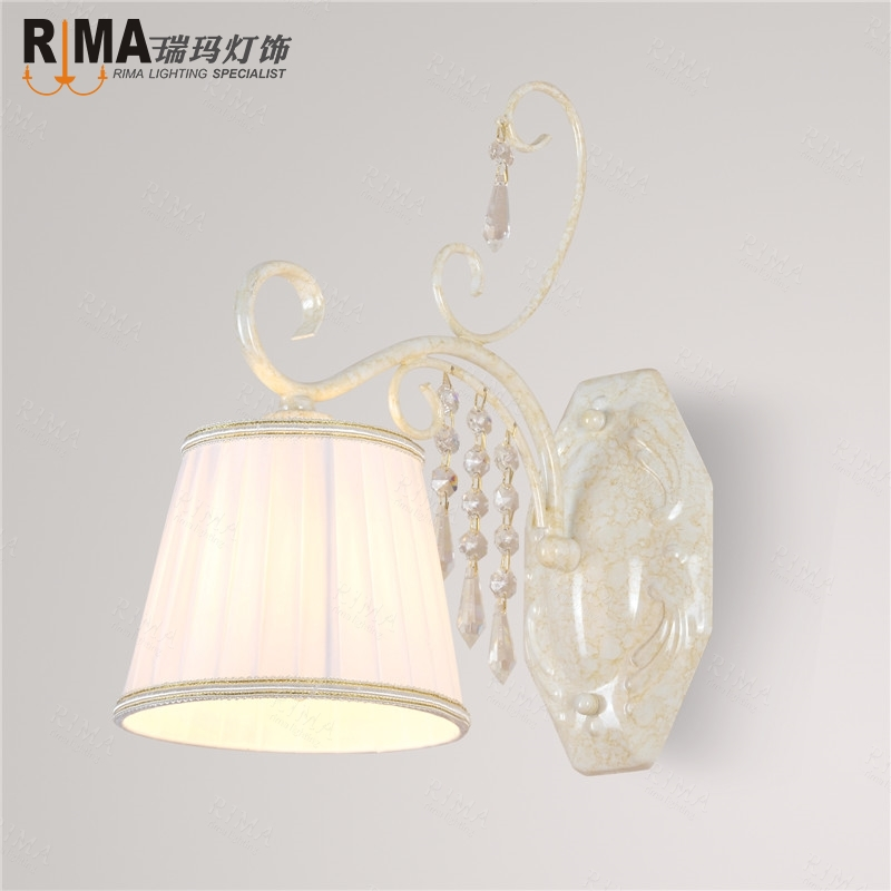 ФОТО hand-made white painted  double crystal wall lights in white shade  classical style hot sale