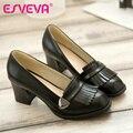ESVEVA negro estilo vintage las mujeres de deslizamiento en los zapatos de tacón grueso ronda toe mujeres bombas damas borla zapatos casuales tamaño grande 11 12 rojo